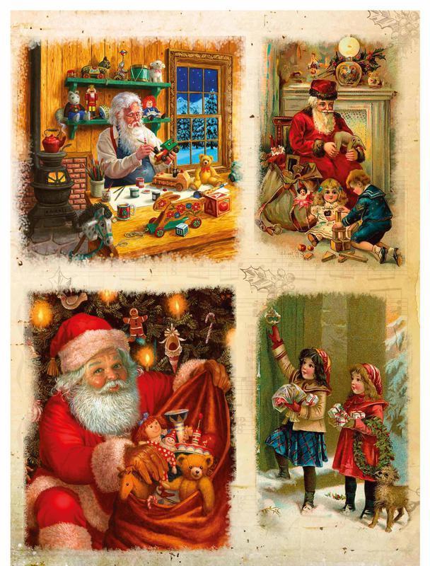 Декупажная карта Дед мороз Подарки Новый Год Рождество Дети Щедровки  176V 55 г/м2, А4, 210Х290 мм