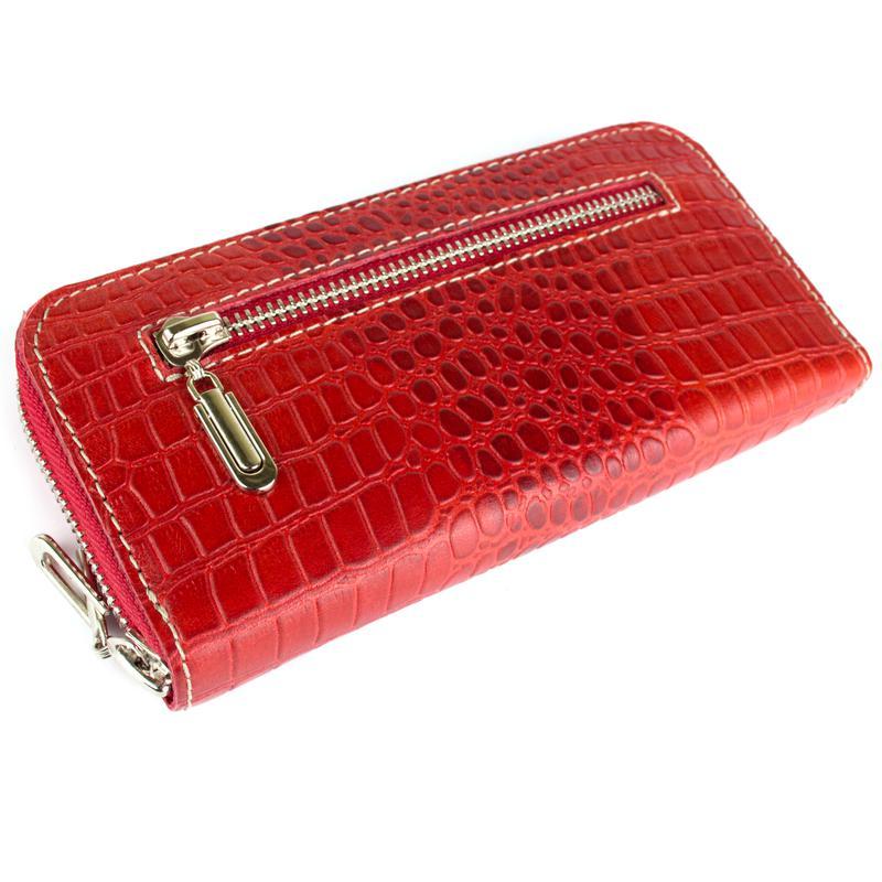 057e8f902b42 Женский кожаный кошелек на молнии LIKA-2 (красный крокодиловый ...