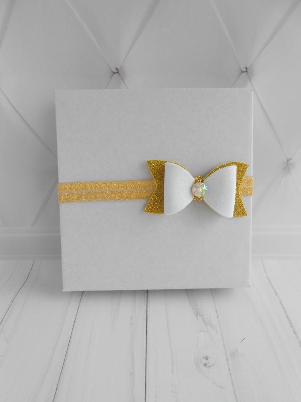 Новогодний бантик на повязке для девочки Украшение для малышки на фотосессию Подарок на Новый год