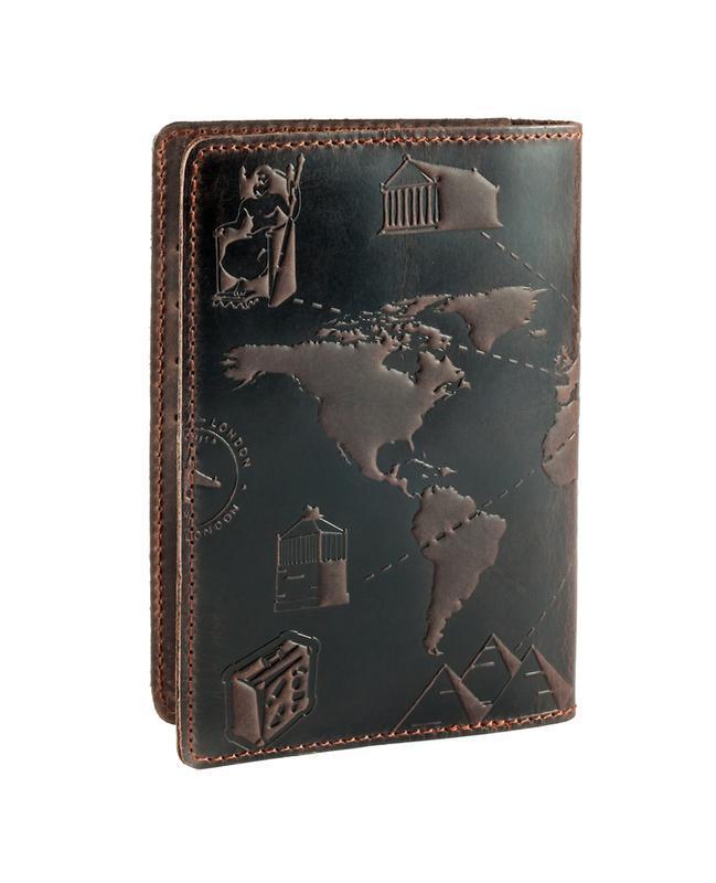 "Обложка для паспорта HiArt PC-02 Shabby Olive ""7 wonders of the world"""