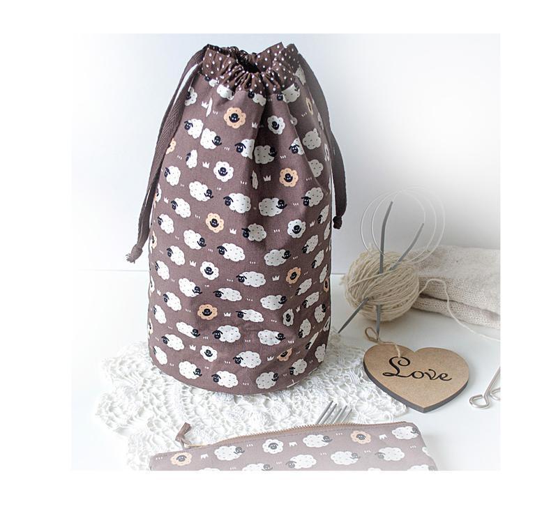 проектная сумка для вязания с круглым дном овечки на коричневом
