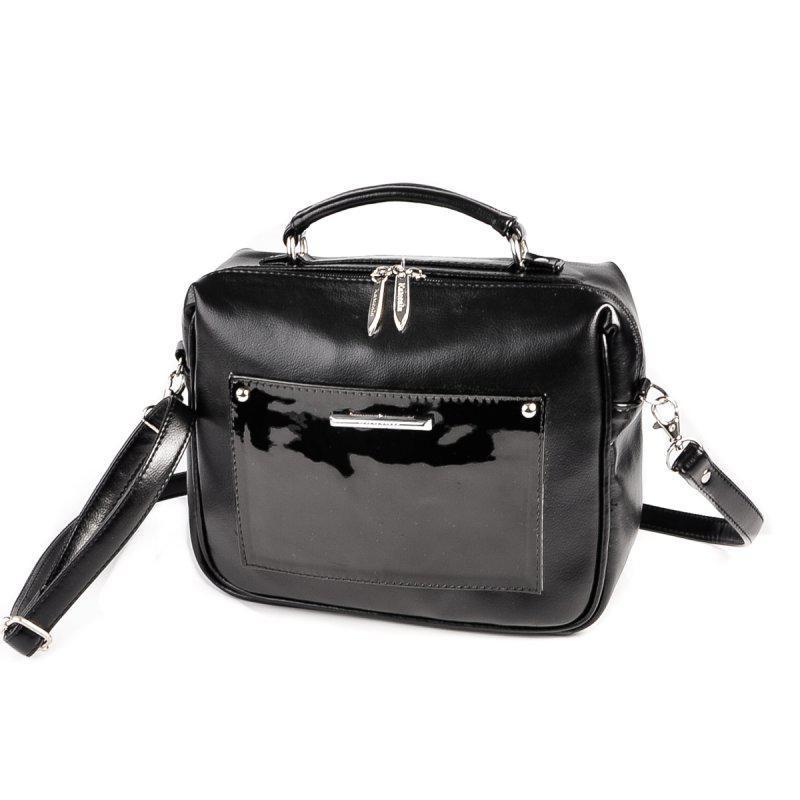 1ccb71384158 Сумка-чемоданчик Черная с лаковым карманом ручной работы купить в ...