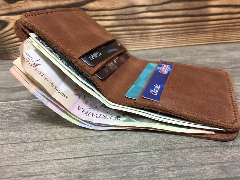 e772d07832f4 Кожаное портмоне,классический мужской кошелек, бумажник двойного сложения.  2 отделения для купюр