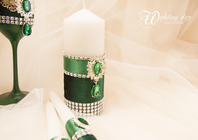 Венчальные свечи / Свечи для свадьбы / Свечи изумрудные / Зелені свічі для весілля