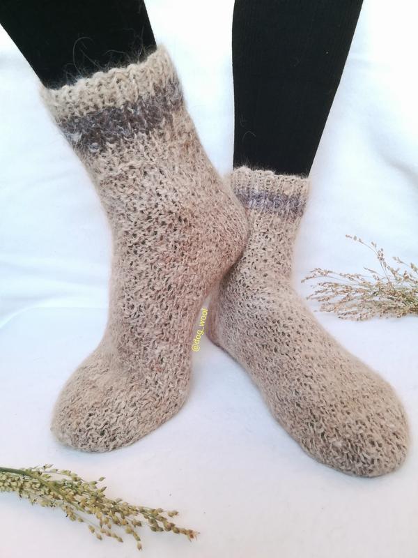 Носки из собачьей шерсти натуральные теплые Эко шерстяные вязанные