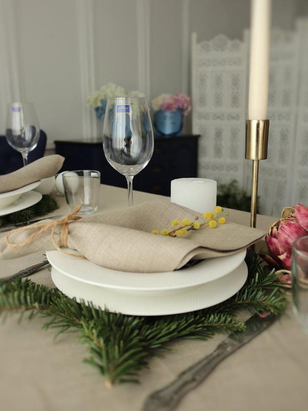 Салфетка серого, натурального цвета. Лен 100%. Декорирование стола. Набор льняных салфеток.