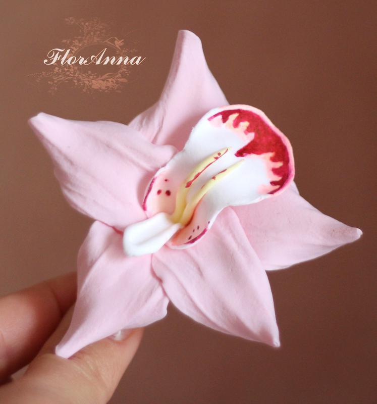 """Заколка цветок """"Розовая орхидея с росписью"""""""