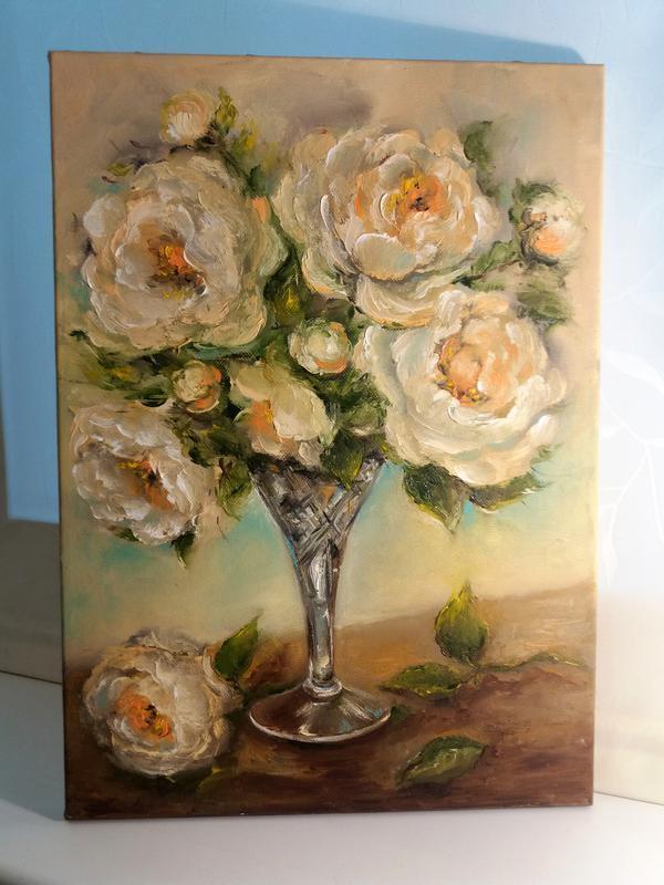 Картина маслом живопись цветы Чайная роза