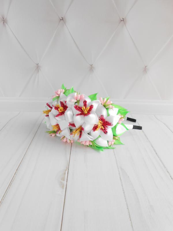 Нарядный белый ободок с цветами Обруч на голову девочке Украшение для волос на фотосессию Подарок