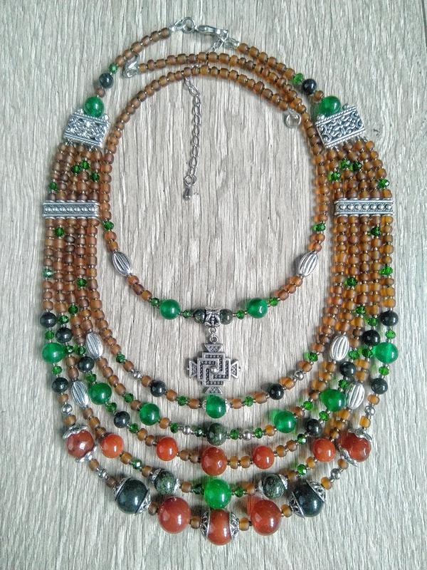 этническое ожерелье, сердолик, змеевик,хризопраз