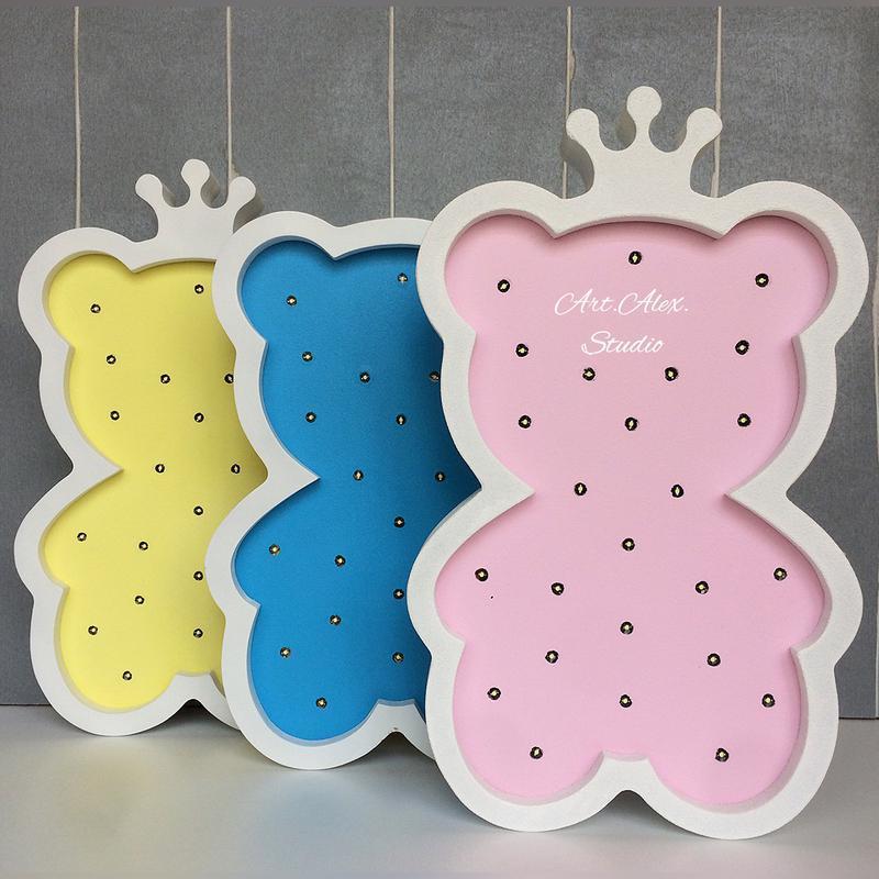 Ночник Мишка из дерева для детской комнаты