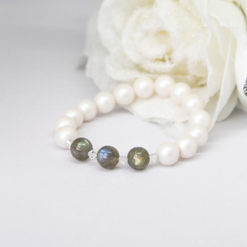 Браслет женский из натуральных камней и жемчуга Swarovski, подарок девушке