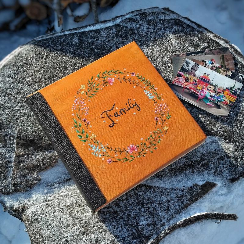 Сімейний фотоальбом із дерева (свадебный подарок на годовщину влюбленных день рождение юбилей)