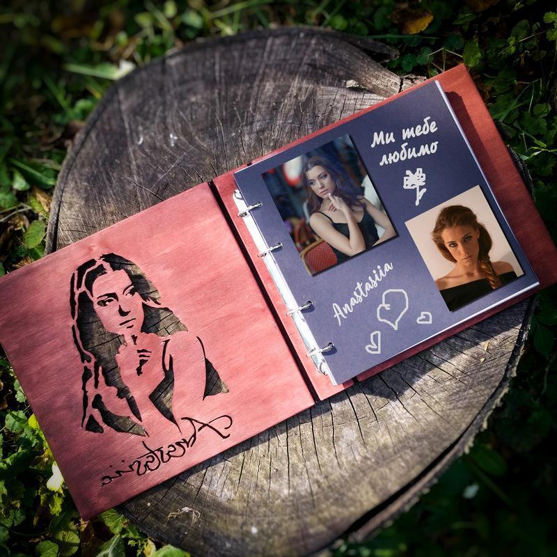 2в1 Фотоальбом + портрет з дерева (подарочные фотоальбомы для влюбленных семейный альбом на свадьбу)