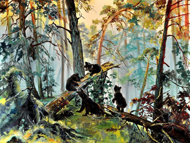 «Прогулка», картина маслом, 60х80 см, мишки, пейзаж живопись