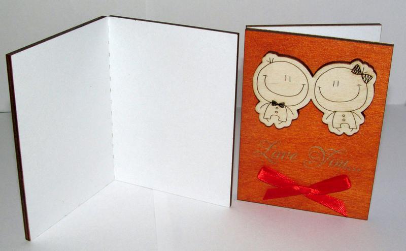 Мини открытка Love you из дерева Человечки, объём