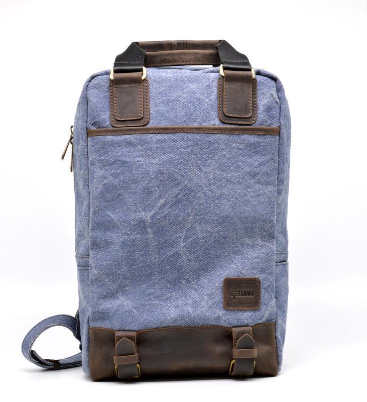 Урбан сумка-рюкзак из лошадиной кожи и ткани canvas от TARWA, модель RK-1210-4lx