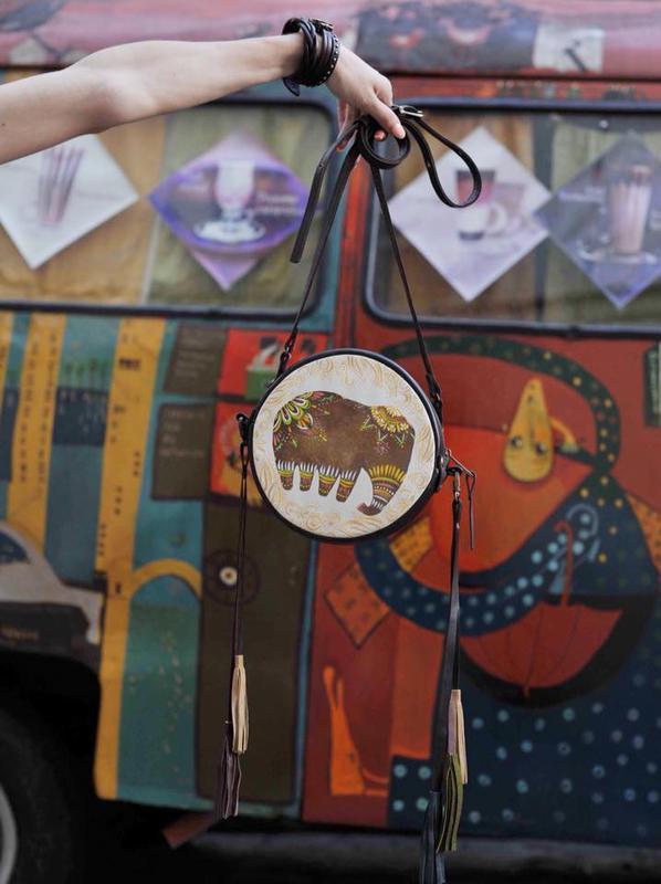 Женская Летняя Сумка В Стиле Бохо Индийский Слон Круглая Кожаная Сумка С Рисунком И Кисточками