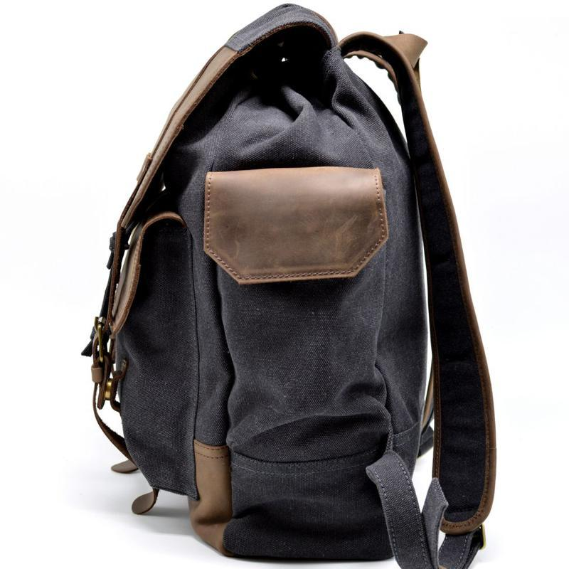 Урбан рюкзак городской TARWA RG-6680-4lx из парусины canvas и кожи crazy horse