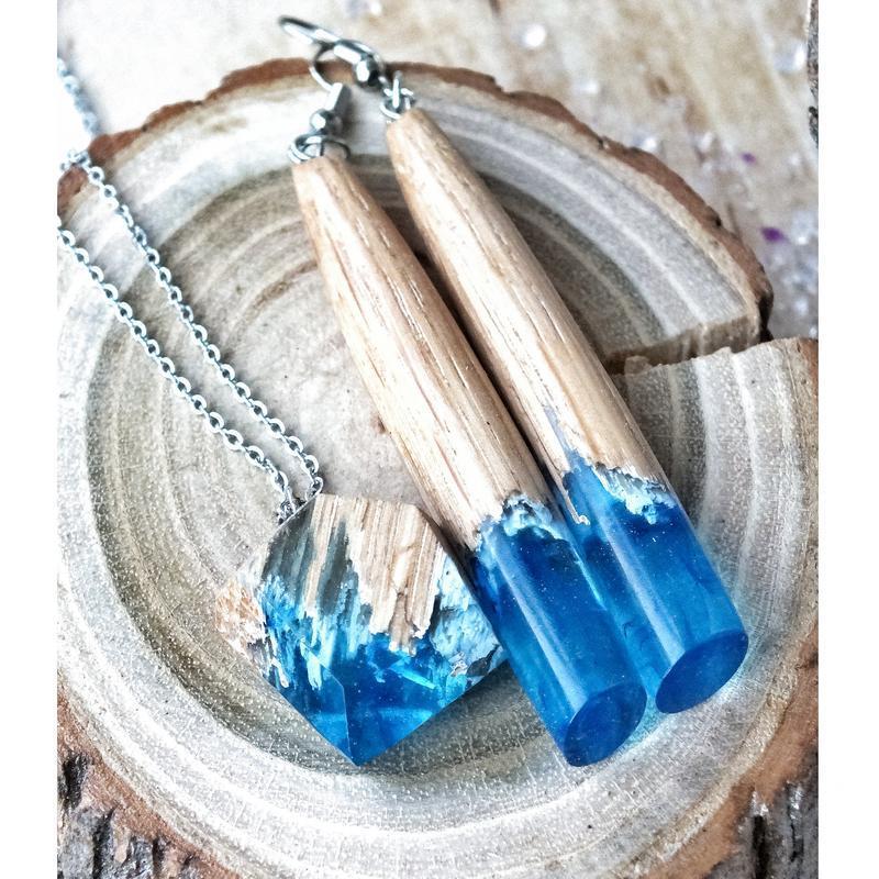 Лазурно-небесные серьги из дерева и эпоксидной смолы, подарок для женщин, длинные серьги