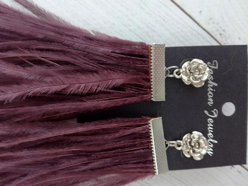 Серьги из перьев страуса цвет марсала