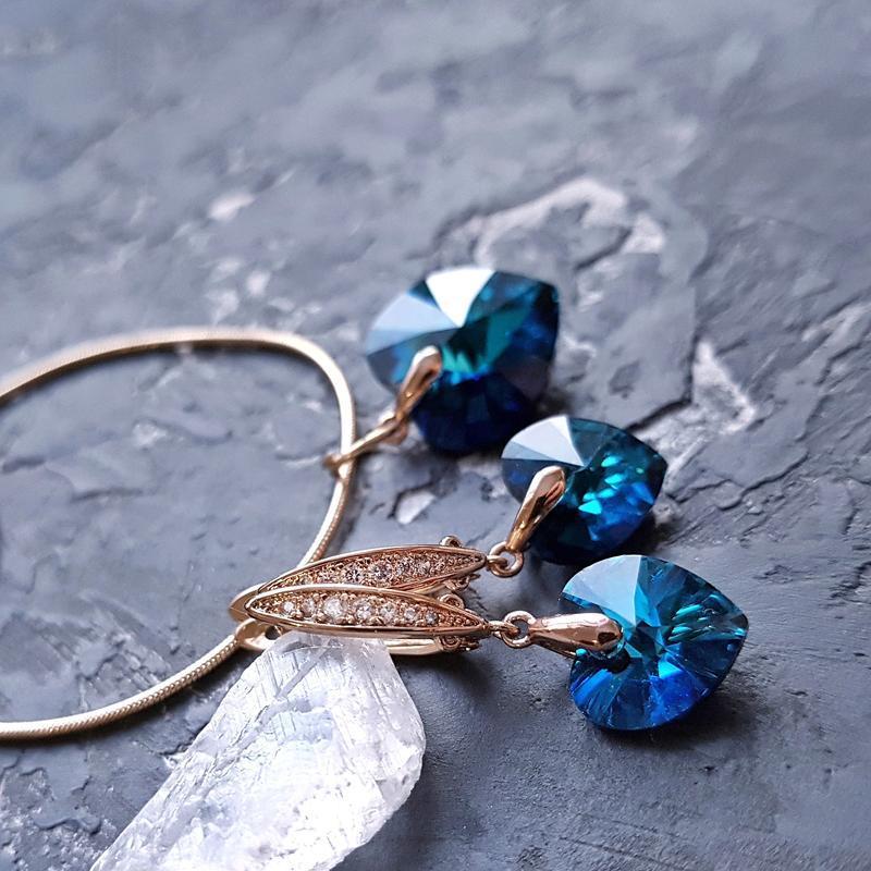 Позолота комплект з кристалами Swarovski серце серьги сердце подарок на день влюбленных 8 марта