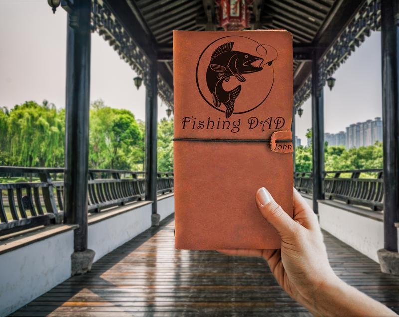 Подарунок для рибака,Блокнот з шкіри,Коньячний блокнот для записів,Чоловічий блокнот,Подарунок чоловікові