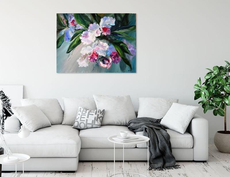 «Орхидеи», картина маслом, 60х80 см, тропические цветы