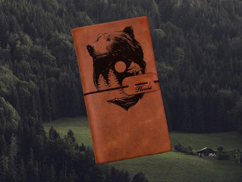 Блокнот з ведмедем,Блокнот з шкіри,Скетчбук,Блокнот з гравіюванням,Чоловічий блокнот,Подарунок хлопцю