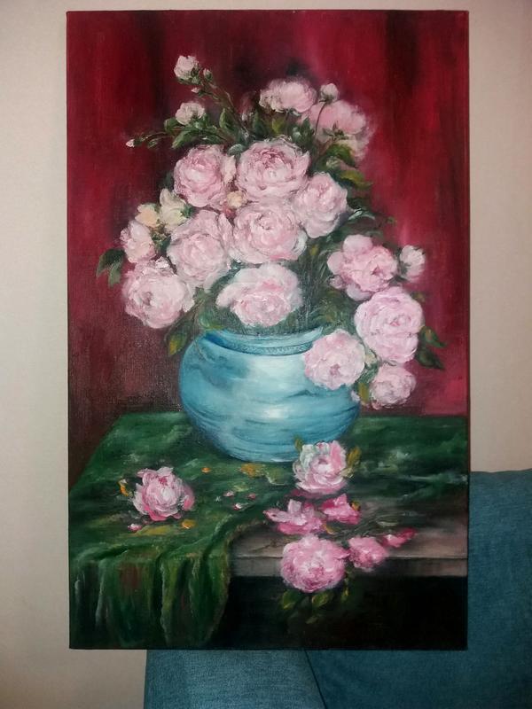 Картина маслом 60×80 живопись цветы Розы на зеленом бархате