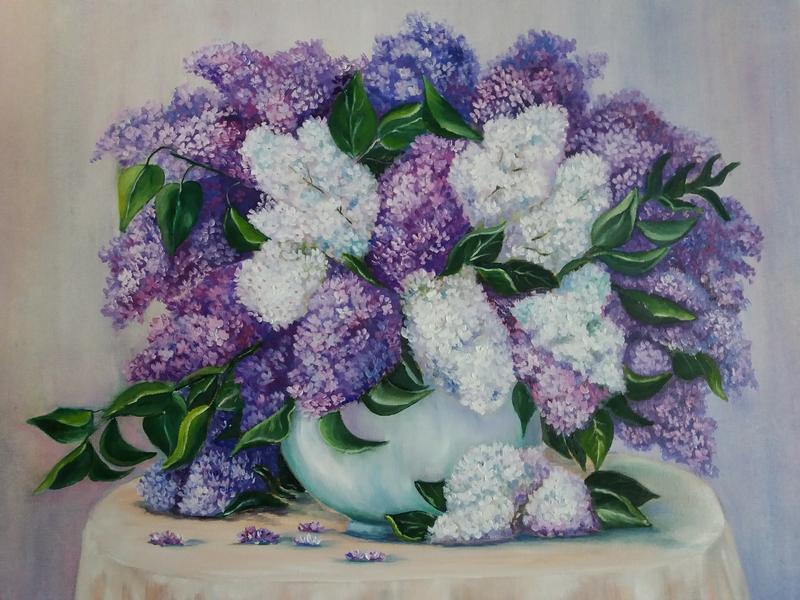 Картина маслом с цветами Сирень