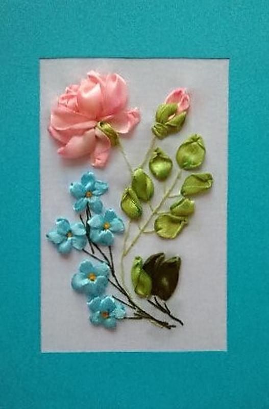 Днем рождения, открытка своими руками с розами из лент
