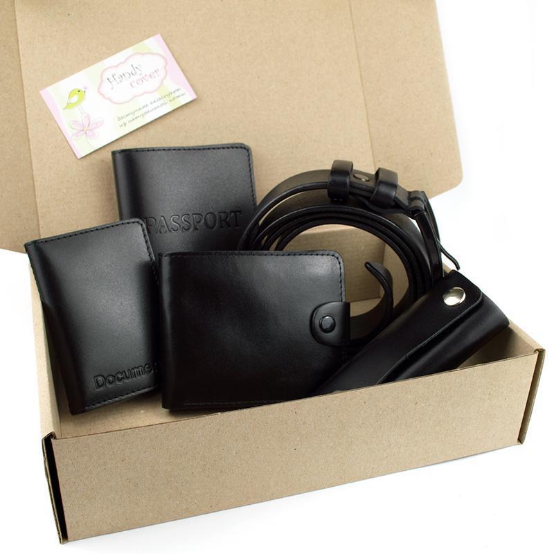 Подарочный набор №24 (черный): Ремень + портмоне + ключница + обложка на паспорт + на права