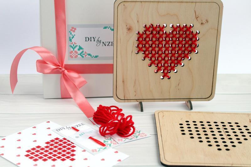 """Набор для вышивки по дереву """"DIY by NZEE Сердце"""""""