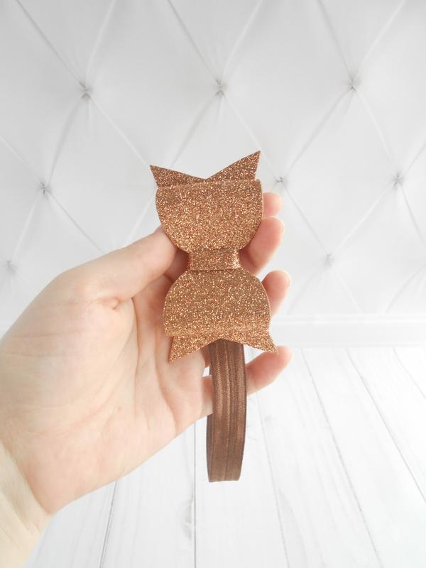 Модная коричневая повязка с бантиком малышке Украшение на голову с блестками на фотосессию Подарок
