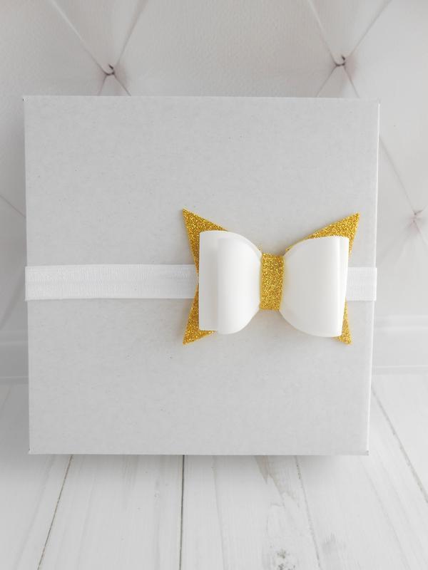 Набор золотых повязок девочке на годик Украшение для волос на фотосессию Подарок малышке к Валентину