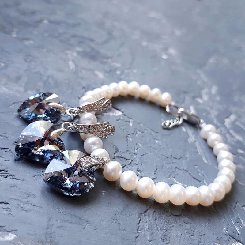 Комплект з натуральними перлами та Swarovski кристалами браслет из жемчуга и серьги подарок девушке