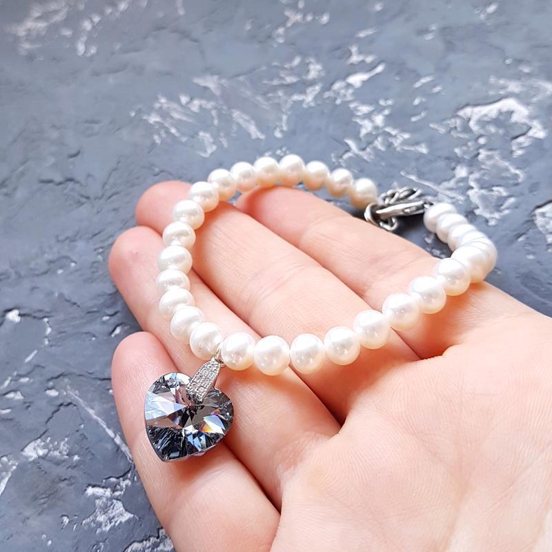 Браслет з натуральними перлами та Swarovski кристалами браслет с жемчугом сердце подарок девушке