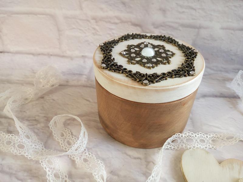 Круглая шкатулка для обручальных колец  Маленькая деревянная шкатулка для свадебных колец