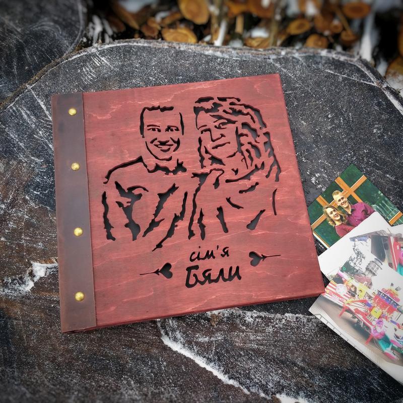 2в1 Фотоальбом + портрет из дерева | подарок для влюбленных, семейный альбом на годовщину