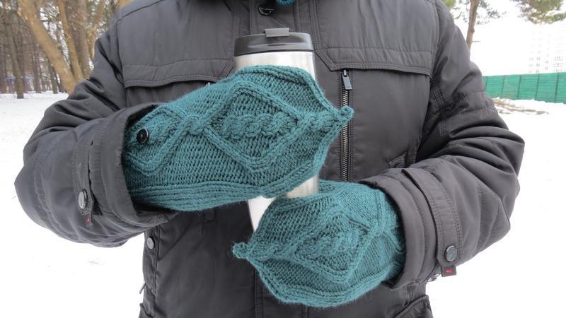 Мужские варежки трансформеры вязаные, подарок мужчине, вязаные рукавицы, подарок мужу