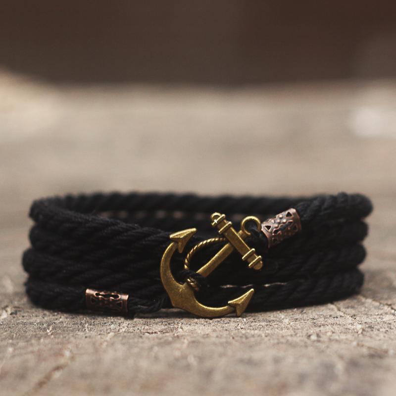 Мужской браслет с якорем MARINE ROPE - чёрный (Морской браслет на руку )