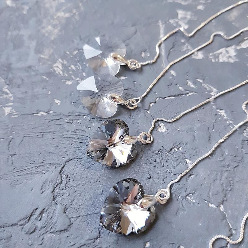 Серьги с кристаллами Swarovski сердце посрібнені