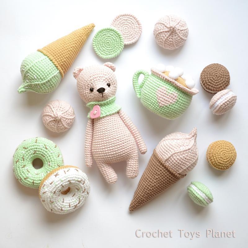 Набор вязаных сладостей + мишка