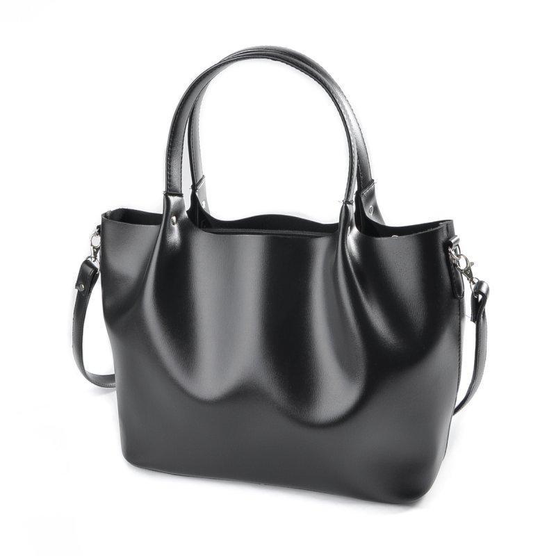 0fe5015222ec Женская сумка-шоппер Черная гладкая ручной работы купить в Украине ...