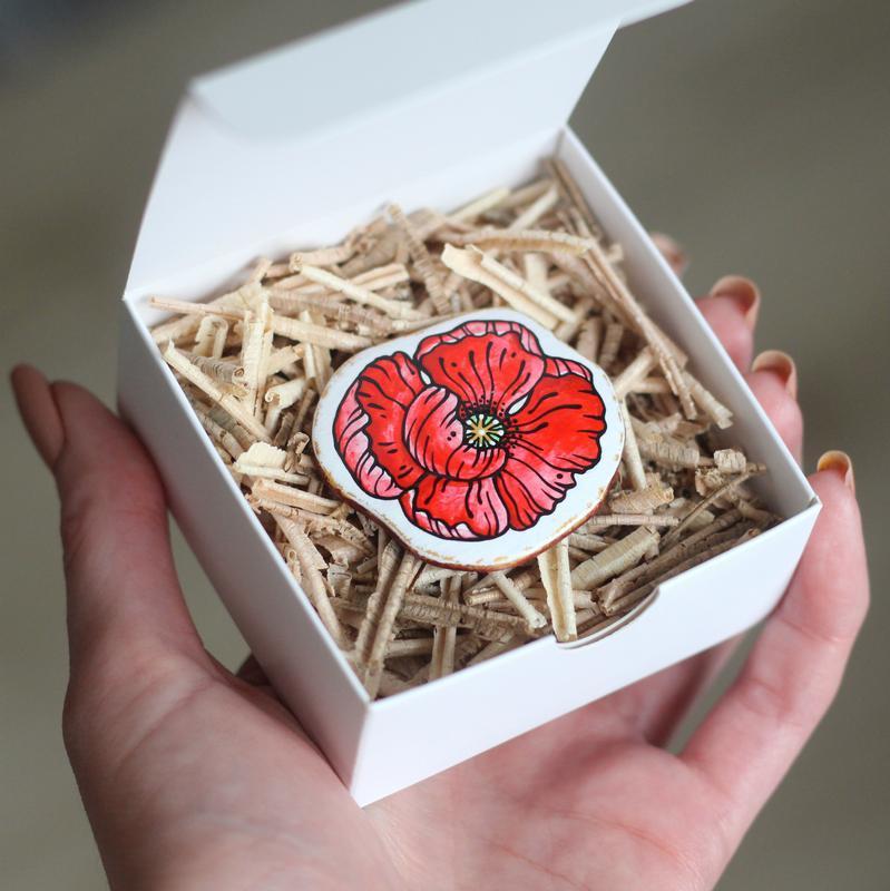 Брошка квітка мак №410174 ручной работы - купить на Crafta.ua