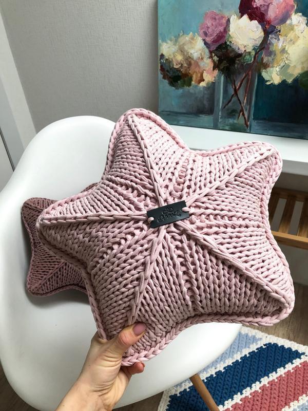 Вязаные подушки-звезды