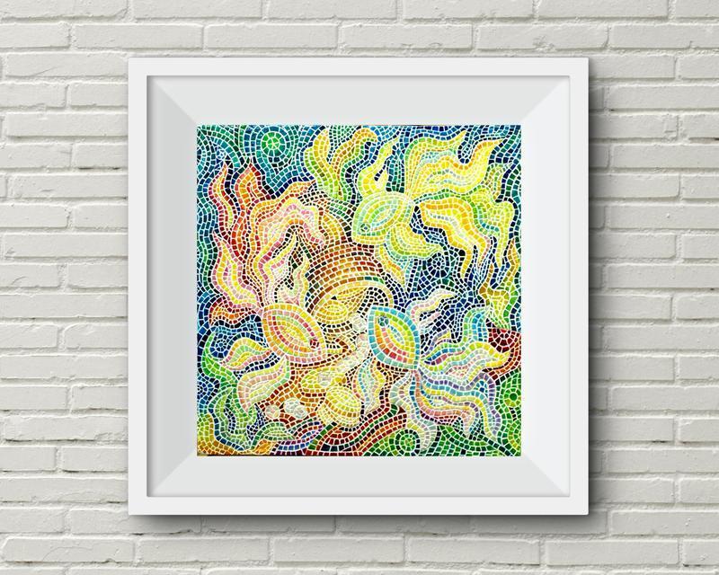 Картина мозаика Золотые рыбки картина Мозаика для ванной Мозаика на заказ Картина из мозаики