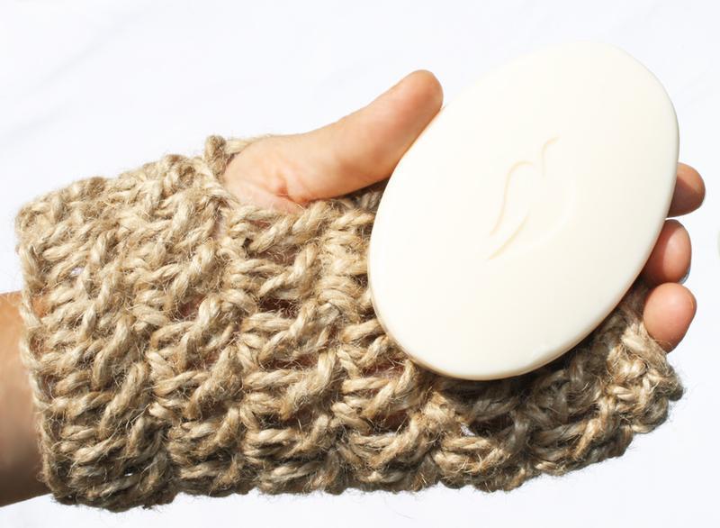 Мочалка митенка массажная натуральная из джута 17х10,5