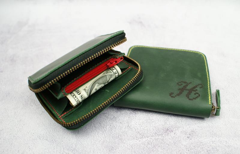 Гаманець на блискавці - Жіночий маленький гаманець - Зелений гаманець на застібці
